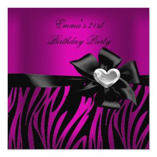 Preto do rosa da prata da zebra do partido de convites personalizado