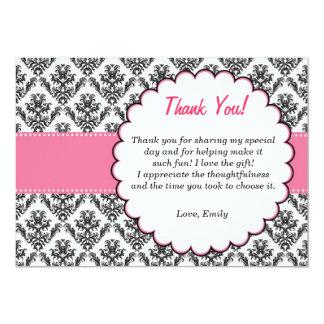 Preto do rosa dos cartões de agradecimentos do