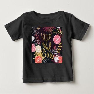 Preto do tshirt do bebê com ornamento camiseta para bebê