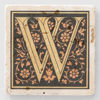 Preto do vintage & ` W da letra do ouro' Porta-copo De Pedra