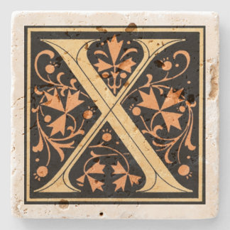 Preto do vintage & ` X da letra do ouro' Porta Copos De Pedra