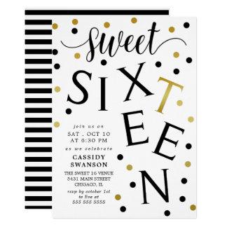 Preto & doce dezesseis da tipografia do ouro do convite 12.7 x 17.78cm