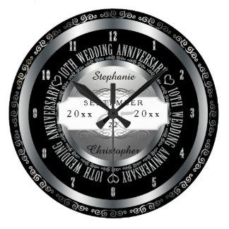 Preto e aniversário de casamento elegante da prata relógios de pendurar