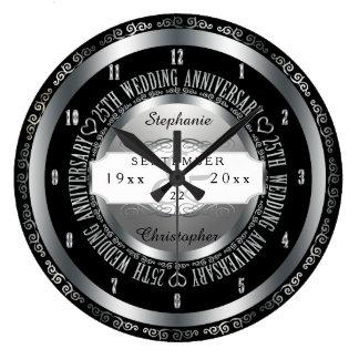 Preto e aniversário de casamento elegante da prata relógios para paredes