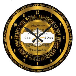 Preto e aniversário de casamento elegante do ouro relógio de parede