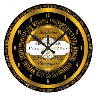 Preto e aniversário de casamento elegante do ouro relógio para parede