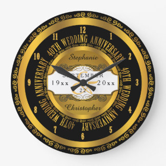 Preto e aniversário de casamento elegante do ouro relógios de pendurar