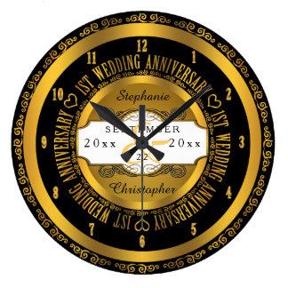 Preto e aniversário de casamento elegante do ouro relógios para pendurar