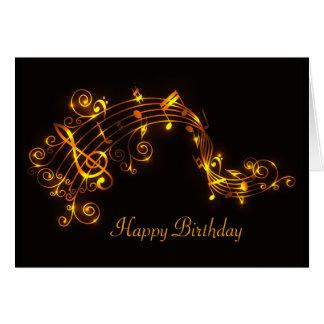 Preto e aniversário de roda das notas musicais do cartao