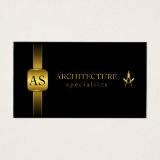 Preto e arquitetura do compasso do arquiteto do cartão de visitas