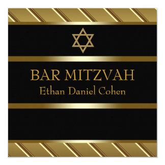 Preto e bar de ouro Mitzvah Convite Quadrado 13.35 X 13.35cm