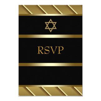 Preto e bar de ouro Mitzvah RSVP Convite 8.89 X 12.7cm