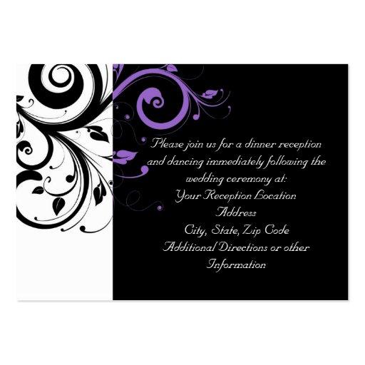Preto e branco com acento roxo do redemoinho cartão de visita grande
