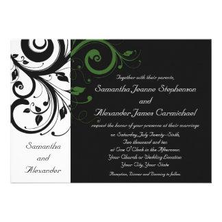Preto e branco com acento verde do redemoinho convite personalizados