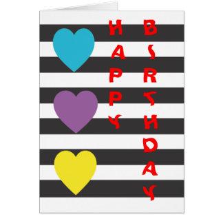 Preto e branco com cartão dos corações