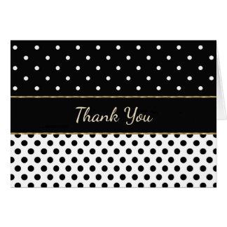Preto e branco com os cartões de agradecimentos da
