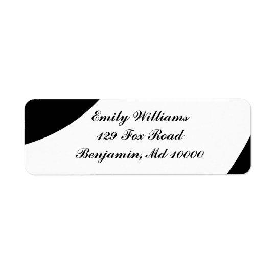Preto e branco corajoso etiqueta endereço de retorno