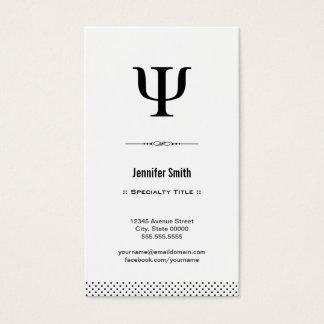 Preto e branco limpo e elegante do psicólogo - cartão de visitas