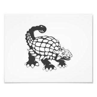Preto e branco pré-histórico do dinossauro do impressão de foto
