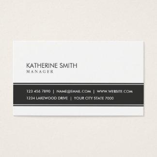 Preto e branco simples liso elegante profissional cartão de visitas
