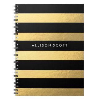 Preto e caderno personalizado ouro