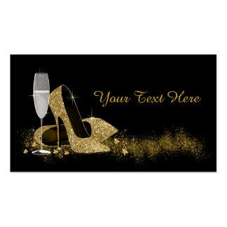 Preto e calçados do salto alto do ouro cartão de visita