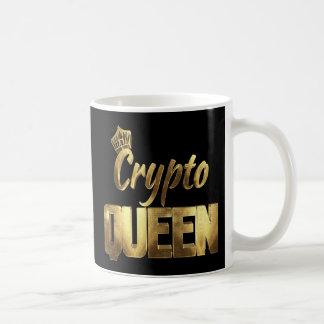 Preto e caneca de café cripto da rainha do ouro
