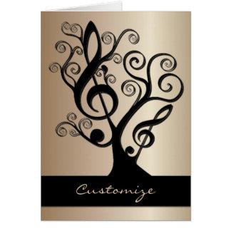 Preto e cartão da árvore do Clef de triplo da