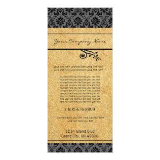 Preto e cartão da cremalheira do damasco do ouro 10.16 x 22.86cm panfleto