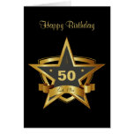Preto e cartão da estrela do aniversário do ouro 5