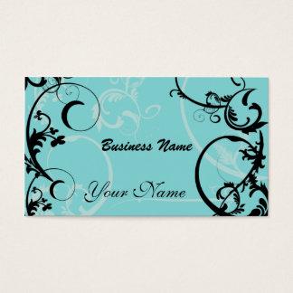 Preto e cartão de visita floral de turquesa