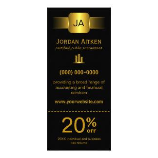 Preto e cartões da cremalheira do ouro com vale do 10.16 x 22.86cm panfleto