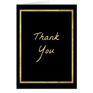Preto e cartões de agradecimentos do ouro