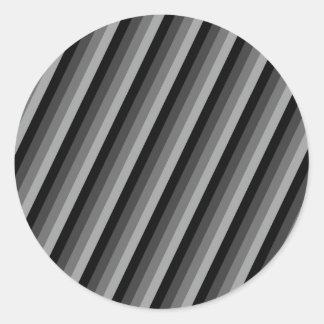Preto e cinza listrados adesivos em formato redondos