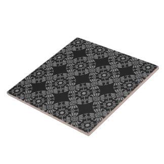 Preto e cinzas florais clássicos do teste padrão azulejos de cerâmica