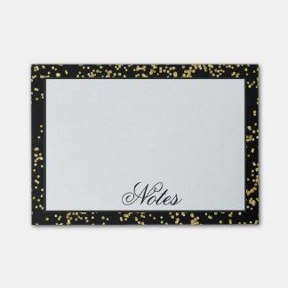 Preto e confetes do ouro personalizados sticky notes