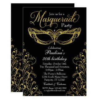 Preto e convite de festas da máscara do mascarada