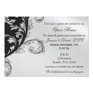 preto e convite de festas incorporado da prata