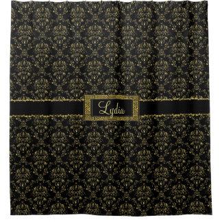 Preto e cortina de chá personalizada damasco do cortina para chuveiro