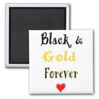 Preto e do ouro ímã do coração para sempre imã