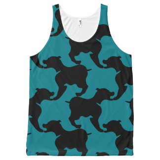 Preto e escolha a camisola de alças dos cães de regata com estampa completa