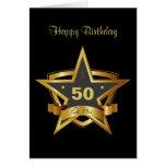 Preto e estrela do aniversário do ouro 50th cartão