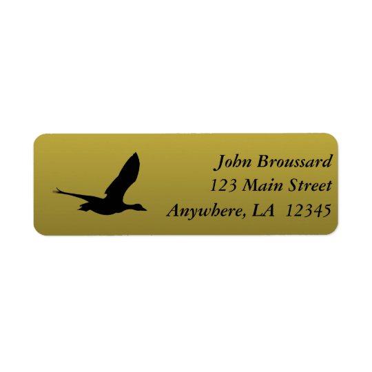 Preto e etiqueta de endereço da caça do pato do