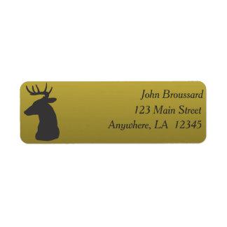 Preto e etiqueta de endereço da caça dos cervos do