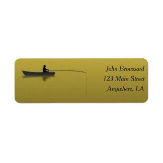 Preto e etiqueta de endereço da pesca do ouro