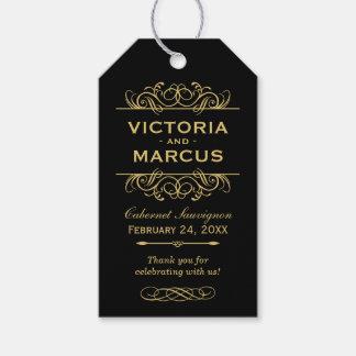 Preto e favor do monograma da garrafa de vinho do etiqueta para presente