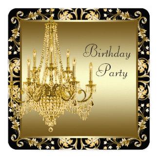 Preto e festa de aniversário do candelabro do ouro convite quadrado 13.35 x 13.35cm