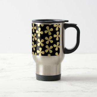 Preto e flores do ouro canecas