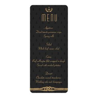 Preto e menu náutico do casamento do ouro convite 10.16 x 23.49cm