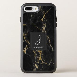 Preto e monograma elegante de mármore do ouro capa para iPhone 7 plus OtterBox symmetry